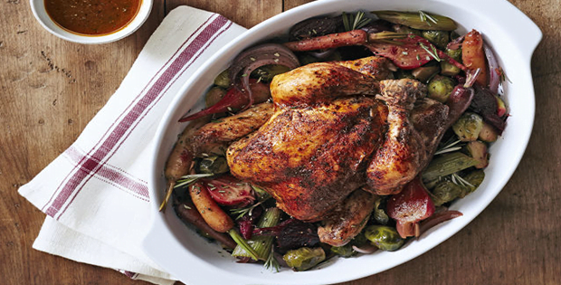 Slow Cooker Herbed Chicken With Beets And Brussels