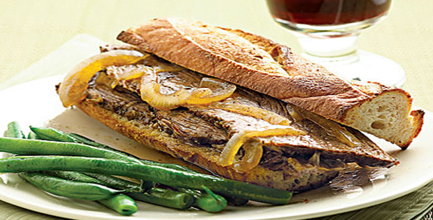 Slow Cooker Roast Beef French Dip Sandwiches