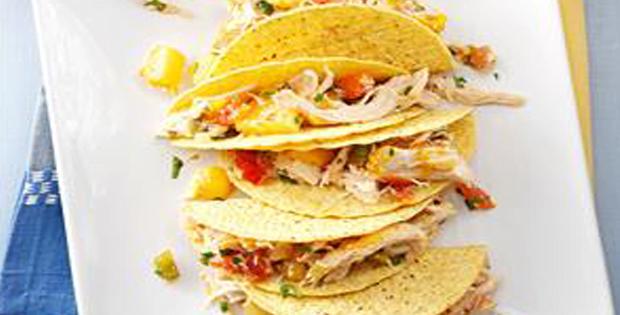 Slow Cooker Mango-Pineapple Chicken Tacos